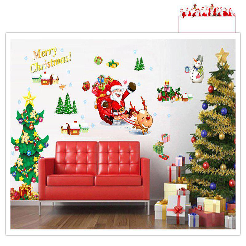 Santa Claus Christmas Trees Gifts Wall Decal Living Room Decorative coloring of trees