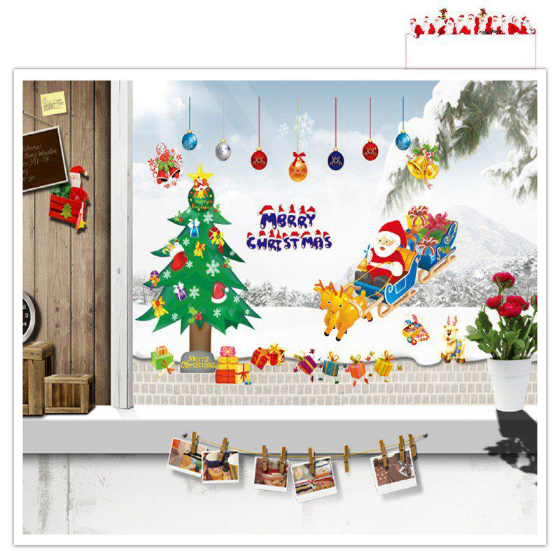 Santa Claus Christmas Tree for Window Glass Can DIY Wall Sticker santa claus christmas tree for window glass can diy wall sticker