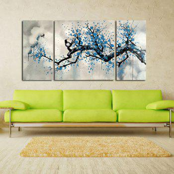 Yhhp Hand Painted Oil Painting Abstract Magpies Wintersweet 3 Piece/Set Wall Art with Stretched Framed Ready To Hang