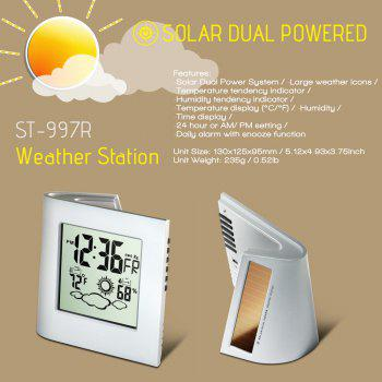 Dual Battery Solar Power Weather Forecaster Indoor Outdoor Weather Thermometer - SILVER