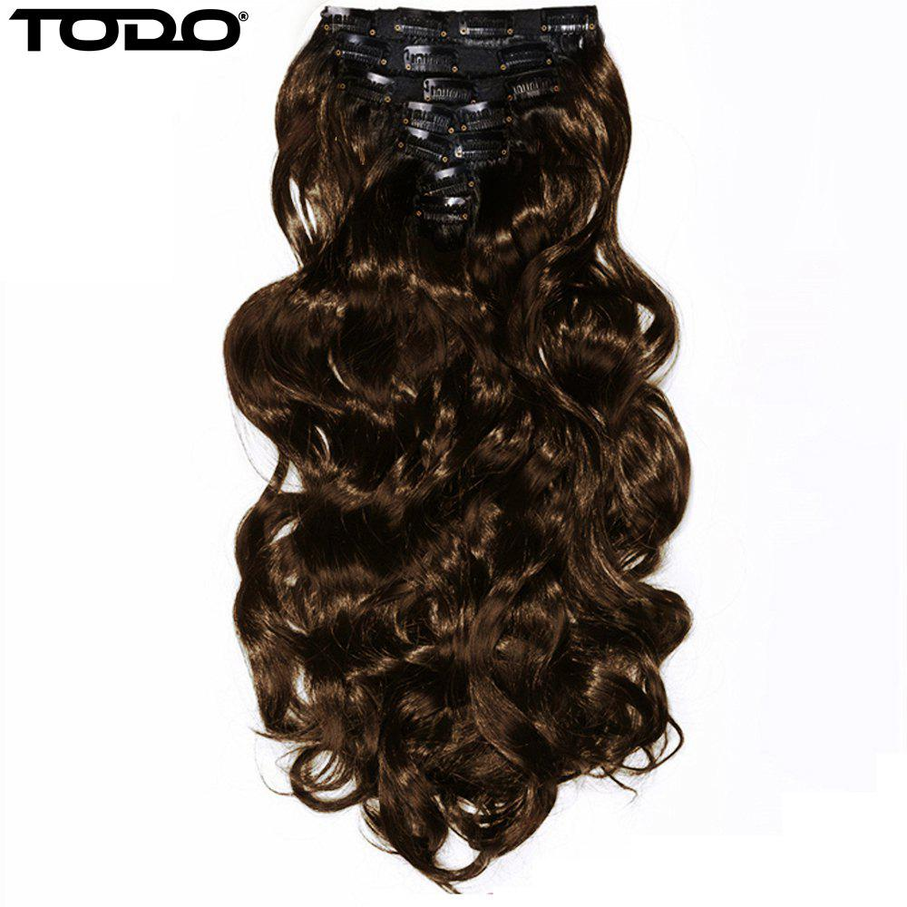 TODO 24inch Wig Curly Single Style 8-piece 18-clip Hair Extensions - LIGHT BROWN 24INCH