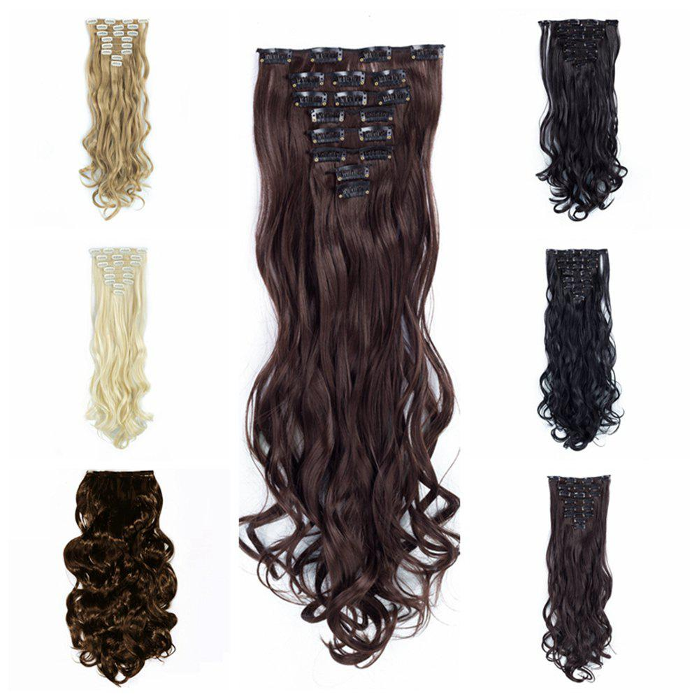 TODO 24inch Wig Curly Single Style 8-piece 18-clip Hair Extensions - MEDIUM BROWN 24INCH