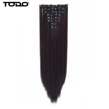 Todo Straight Wig 8-piece 18-clip Hair Extension - DARK BROWN DIAL DARK DARK BROWN DIAL DARK