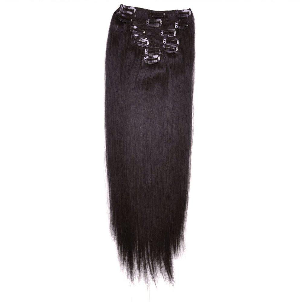 Todo Straight Wig 8-piece 18-clip Hair Extension - BLACK BROWN 22INCH