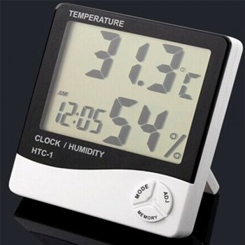 Table Alarm Clock Home Thermometer Hygrometer -  WHITE