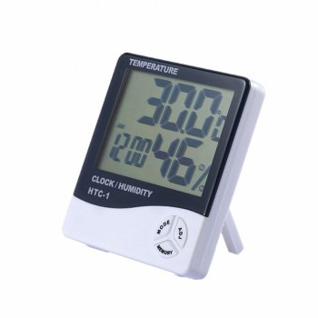 Table Alarm Clock Home Thermometer Hygrometer - WHITE WHITE