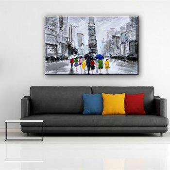 YHHP Hand Painted Abstract Street View Decoration Canvas Oil Painting