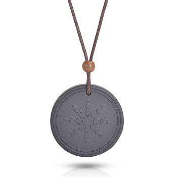 Quantum Pendant Lava Negative Ion Energy Necklace with Box And Card - BLACK BLACK