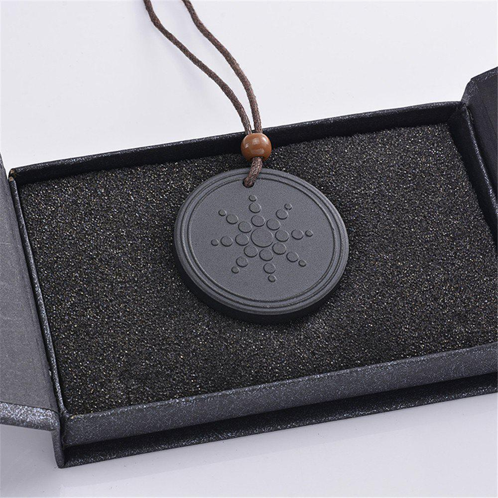Quantum Pendant Lava Negative Ion Energy Necklace with Box And Card - BLACK