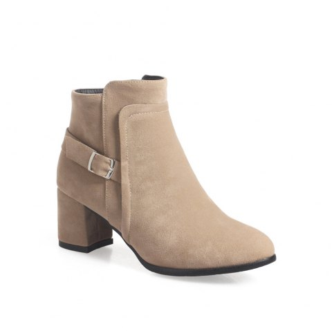 bd249888e84 Fashion Womens Round Toe Chunky Heel Zip with Buckle Ankle Boots