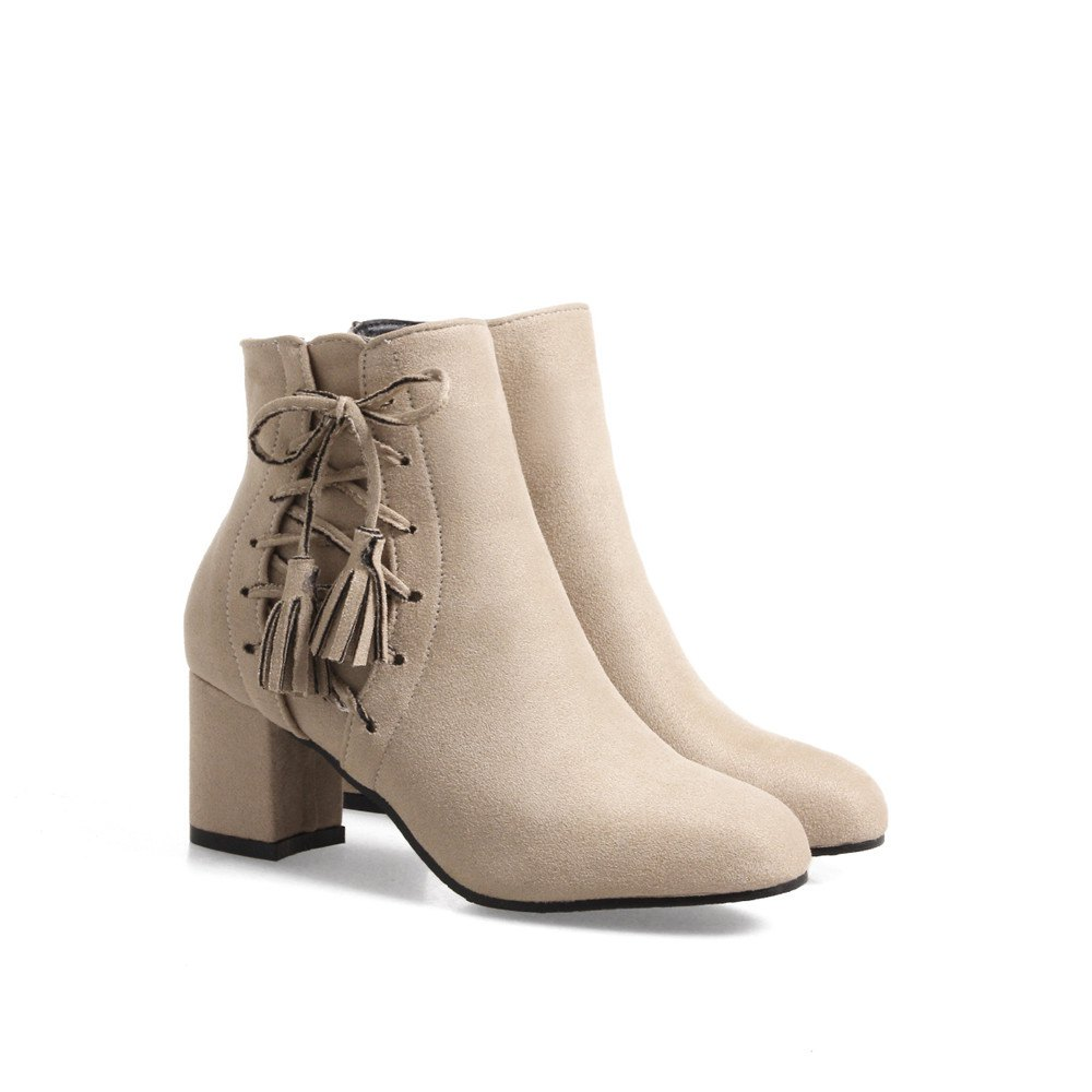 Fashion Womens Round Toe Chunky Heel Tassels with Zip Ankle Boots - APRICOT 34