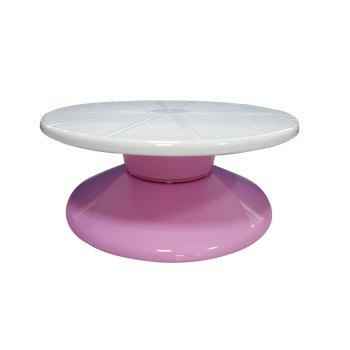 Turnable Cake Decorating Stand 11 Inch Round Food-Grade Plastic Detachable Base - PINK AND WHITE PINK/WHITE