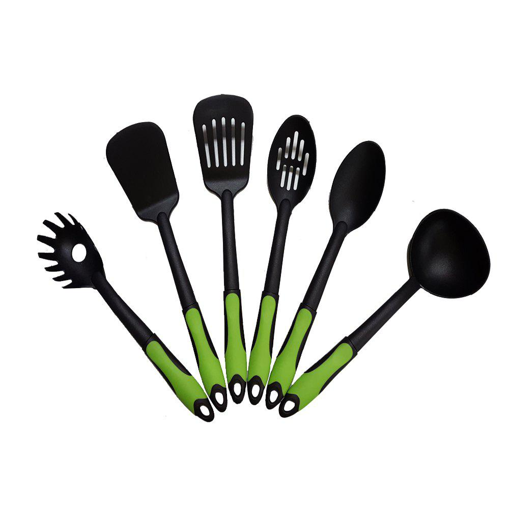 6-piece Nylon Non-stick Slotted Spatula Spoon Heat-resistant Kitchen Cooking Utensil Set - BLACK/GREEN