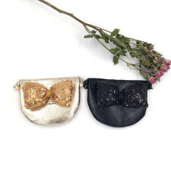 Children Sequined Bow Inclined Shoulder Bag Shiny Leather Shildrens Small Bag -  BLACK