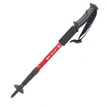 Aluminum Alloy Telescopic Cane Outdoor Alpenstock 4 Sections for Men And Women Camping Hiking Trekking Pole Canes - RED RED