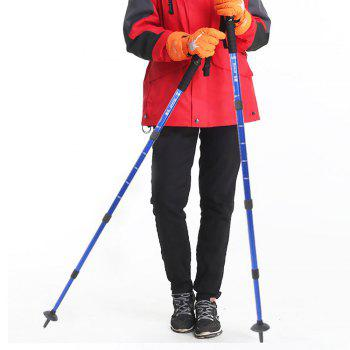 Aluminum Alloy Telescopic Cane Outdoor Alpenstock 4 Sections for Men And Women Camping Hiking Trekking Pole Canes - BLUE