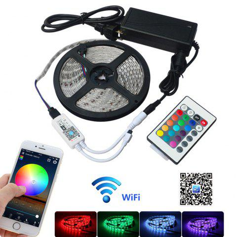 Jiawen Waterproof Ip65 5050 Smd 60LEDS/M Rgb Led Strip Light with Wi-Fi Controller, Dc12v Us Power Adapter - WHITE 1001
