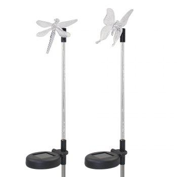 2PCS Solar Color-changing Butterfly Garden Stake Light -  BLACK/SILVER