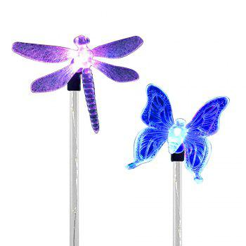 2PCS Solar Color-changing Butterfly Garden Stake Light - BLACK AND SILVER BLACK/SILVER