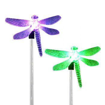 2PCS Solar Color-changing Dragonfly Outdoor Garden Stake Light - BLACK AND SILVER BLACK/SILVER
