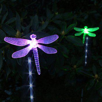 2PCS Solar Color-changing Dragonfly Outdoor Garden Stake Light -  BLACK/SILVER