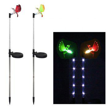 2PCS Solar Fiber Optic Color-changing Garden Stake Light - Hummingbird - BLACK AND SILVER BLACK/SILVER