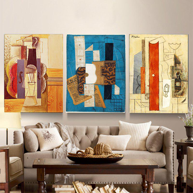 Colourful Abstract Frameless Triple Decorative Painting 12 x 16 inch - COLORMIX
