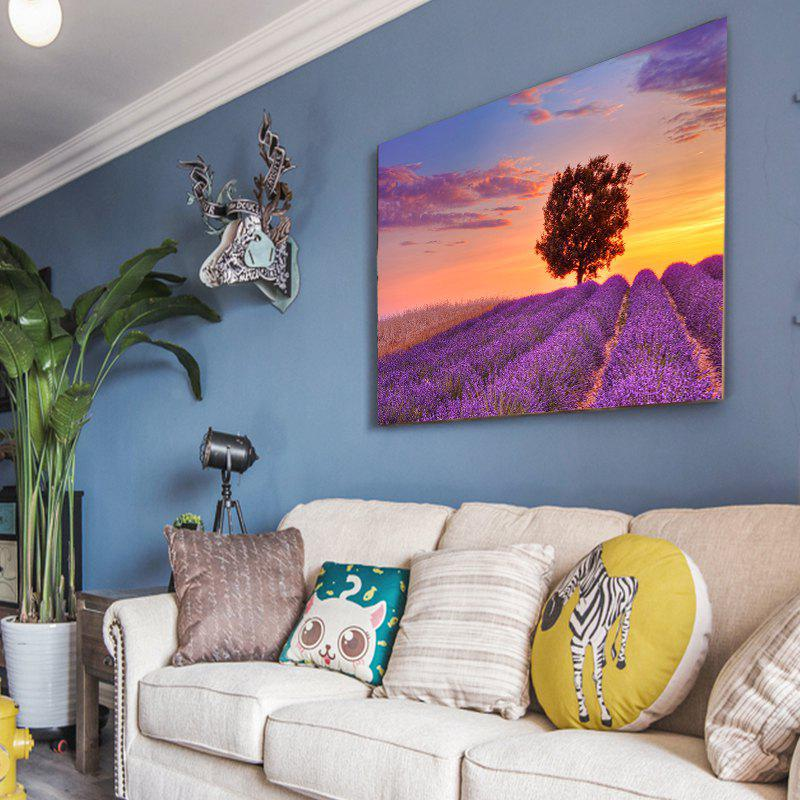 Colorful Lavender Sunset Pastoral Landscape Frameless Decorative Painting 20 39inch - COLORMIX