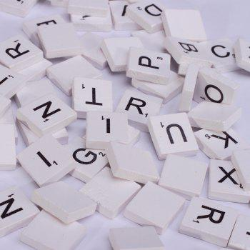 100 Pcs Uppercase Wooden Scrabble Tiles Crafts Wood Alphabets for Kids - WHITE