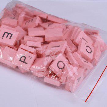 100 Pcs Uppercase Wooden Scrabble Tiles Crafts Wood Alphabets for Kids - PINK