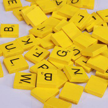 100 Pcs Uppercase Wooden Scrabble Tiles Crafts Wood Alphabets for Kids - YELLOW YELLOW
