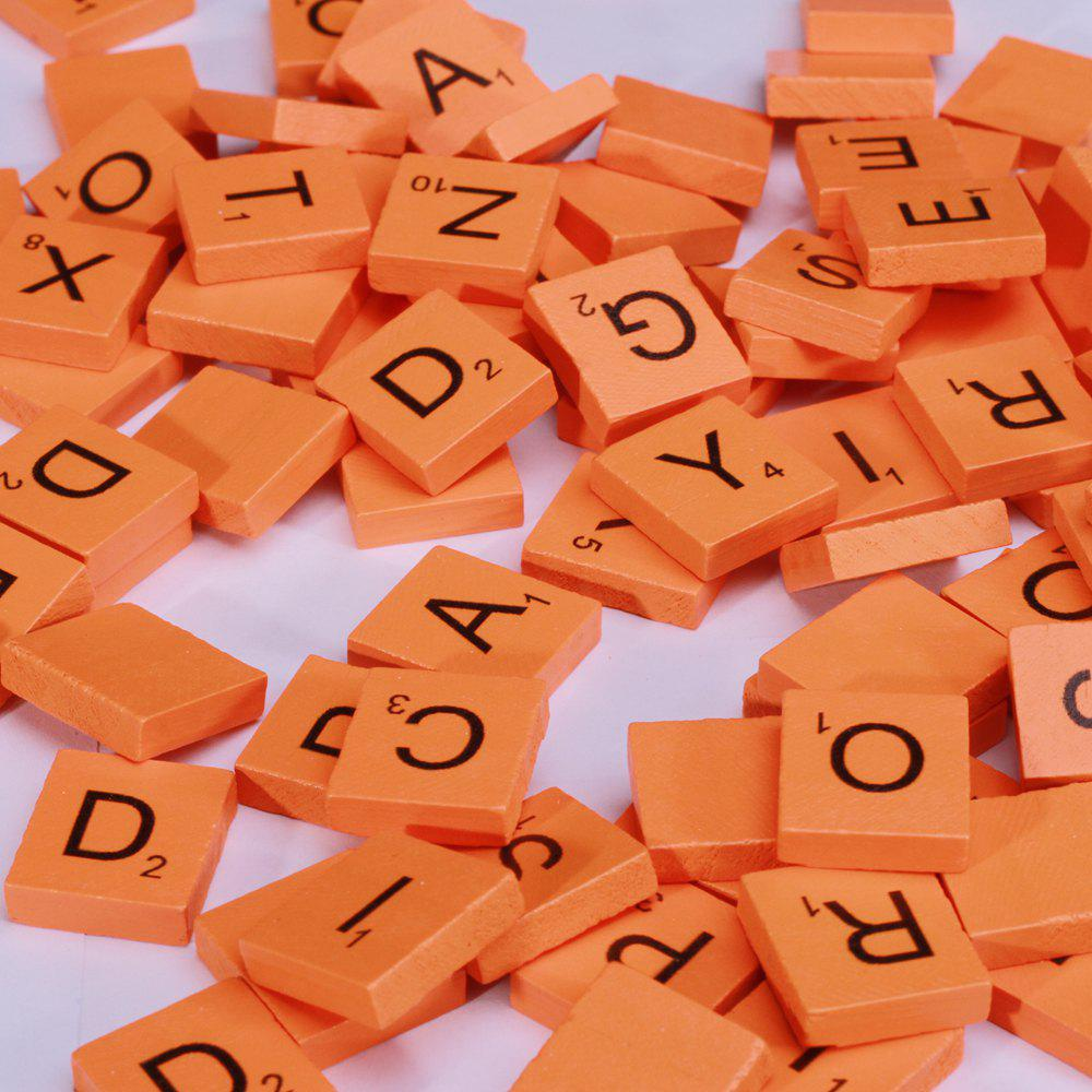 100 pièces en bois majuscules en bois Scrabble Tiles Artisanat Wood Alphabets for Kids - Orange