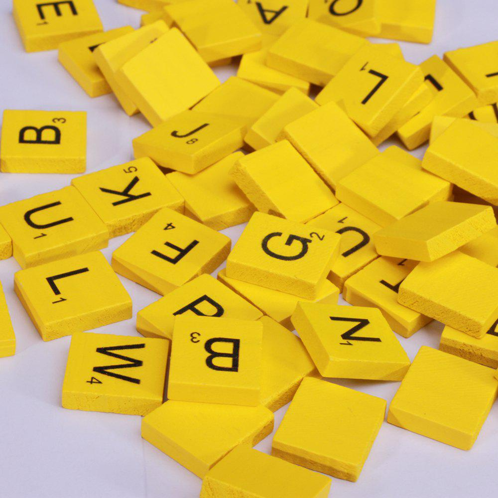 100 Pcs Uppercase Wooden Scrabble Tiles Crafts Wood Alphabets for Kids - YELLOW