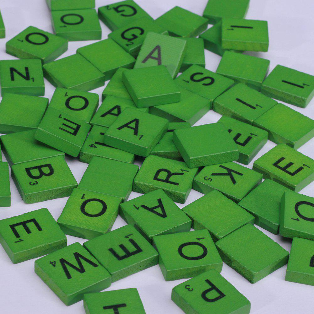 100 Pcs Uppercase Wooden Scrabble Tiles Crafts Wood Alphabets for Kids - GREEN