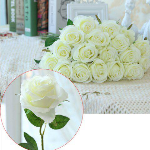 10 Branch Silk White Roses Wedding Party Decoration Home Decoration Artificial Flowers - WHITE