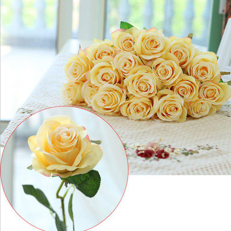 10 Branch Silk Yellow Roses Wedding Party Decoration Home Decoration Artificial Flowers - YELLOW