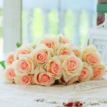 10 Branch Silk Champagne Roses Wedding Party Decoration Home Decoration Artificial Flowers - CHAMPAGNE
