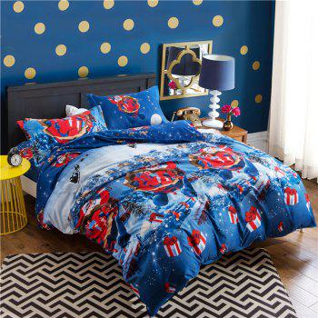 Mingjie 4PCS Santa Claus Duvet Cover Flat Sheet Pillowcase Queen Size