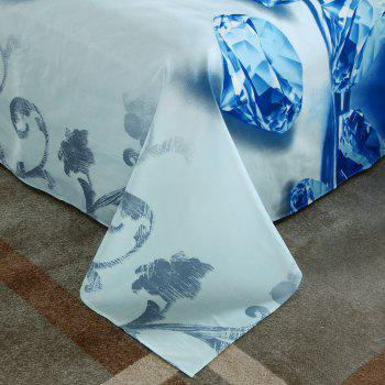 Mingjie 4PCS Blue Diamond Queen Size Bedding Queen Size - LIGHT BLUE QUEEN