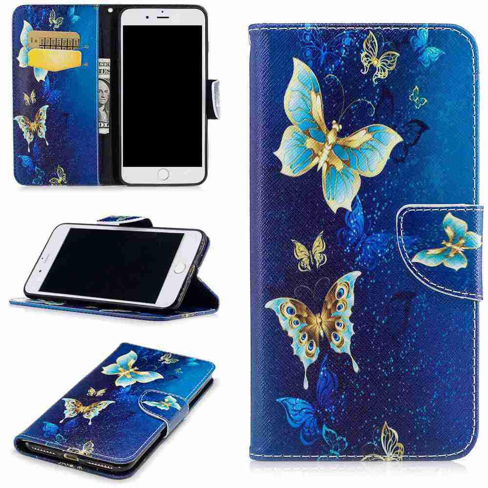 Yellow Butterfly Painted Pu Phone Case for iPhone 6S Plus/6 Plus butterfly rhinestone pattern wallet phone case for iphone 6s plus