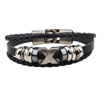 Fashion Alloy x Letter Braided Leather Cuff Bracelet for Men - BLACK BLACK