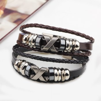 Fashion Alloy x Letter Braided Leather Cuff Bracelet for Men - BROWN