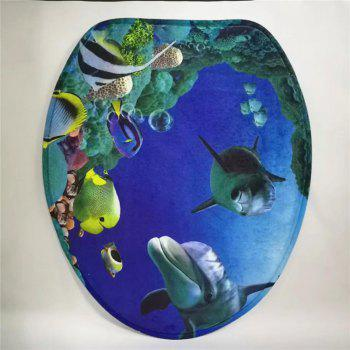 Coussin de siège de toilette de style occidental 3PCS Undersea World - Bleu