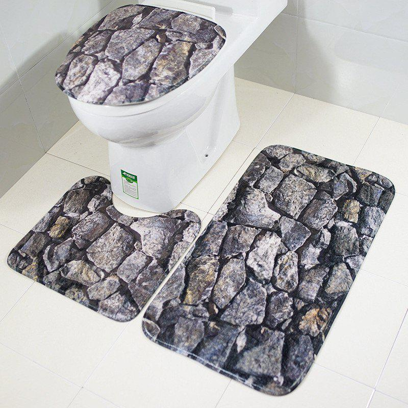 New Style 3PCS rock Printing Toilet Seat Cushion - GRAY