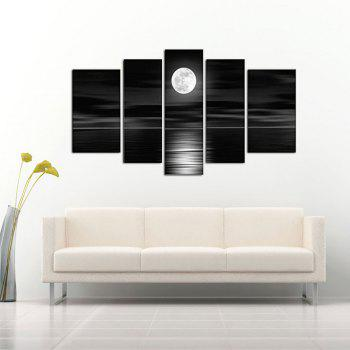 Yhhp 5 Panels Night Sea Landscape Picture Print Modern Wall Art On Canvas Unframed - BLACK