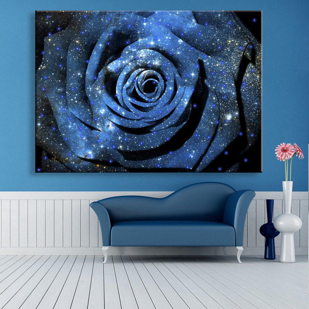 Yc Stretched Led Canvas Print Art The Flower Flash Effect Led Flashing Optical Fiber Print - DEEP BLUE 20 X 28 INCH (50CM X 70CM)