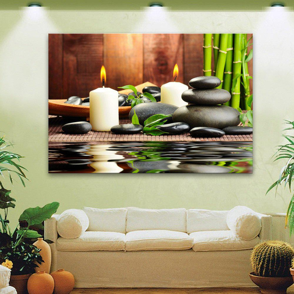 Yc Stretched Led Canvas Print Art The Candle Flash Effect Led Flashing Optical Fiber Print Set of 1 - WHITE/GREEN 20 X 28 INCH (50CM X 70CM)
