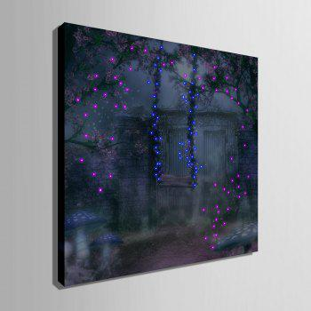 Yc Stretched Led Canvas Print Art Le Swing Trapeze Effet Flash Led Flashing Optical Fiber Print Ensemble de 1 - Bleu / Violet 24 X 24 INCH (60CM X 60CM)
