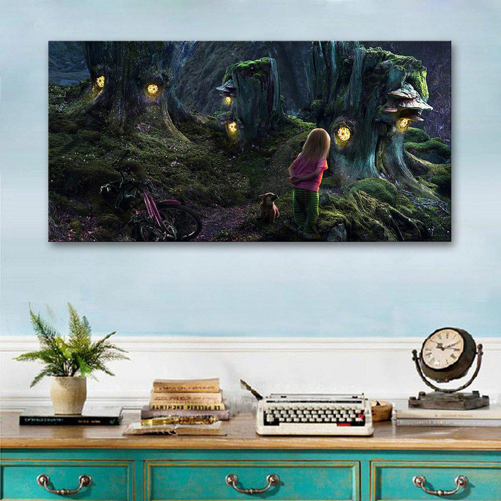 Yc Stretched Led Canvas Print Art The World of Magic Flash Effect Led Flashing Optical Fiber Print Set of 1 - DARK GREEN 16 X 24 INCH (40CM X 60CM)