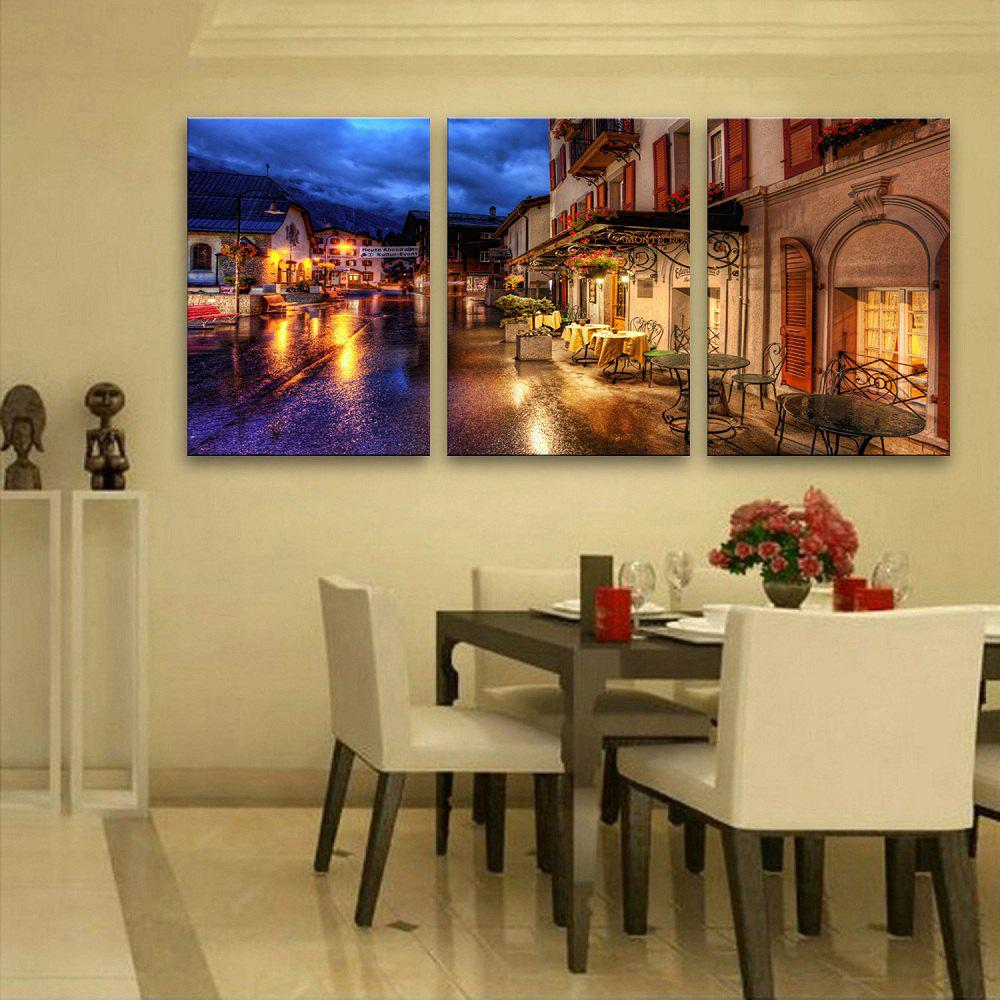 2018 YC Stretched LED Canvas Print Art The Town By The Brook Flash ...